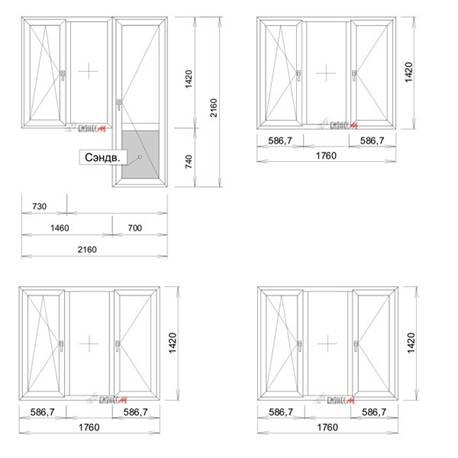 Окна и двери для трехкомнатной квартиры в доме серии КОПЭ.